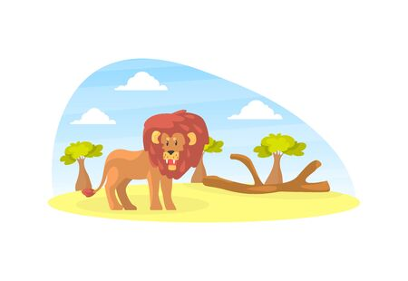 Cute Lion on Beautiful African Landscape, Wild Animal in the Zoo or Safari Park Vector Illustration Banco de Imagens - 150527749