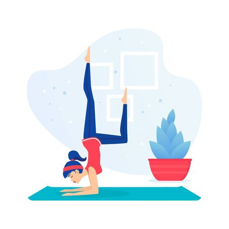 Girl Practicing Yoga, Young Woman Doing Morning Physical Workout Indoors Flat Vector Illustration