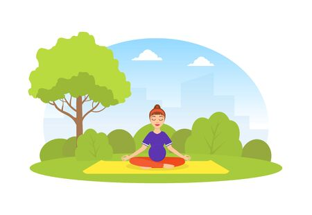 Girl Doing Yoga in City Park, Young Woman Meditating in Lotus Position During Morning Physical Workout Flat Vector Illustration Vectores