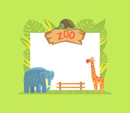 Giraffe, Turtle and Elephant Wild Jungle Animals with Blank Banner Vector Illustration, Cartoon Style.