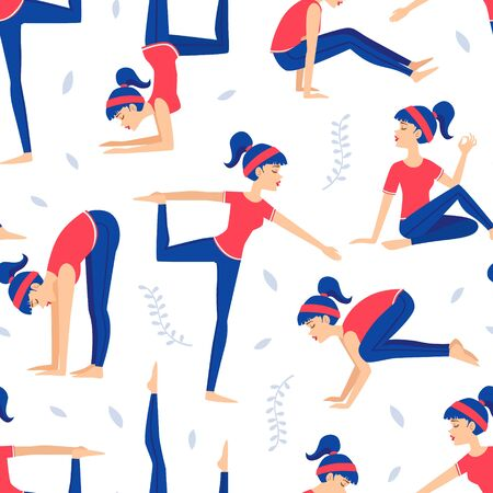 Young Woman Practicing Various Asana Poses Seamless Pattern, Yoga Lessons, Design Element Can Be Used for Fabric, Packaging, Web Page, Wrapping Paper, Vector Illustration Çizim