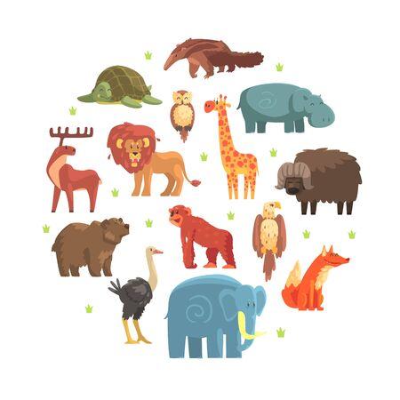 Cute Wild Jungle Animals of Round Shape, Zoo Park Design Element Vector Illustration