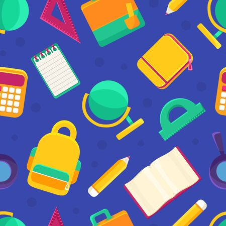 Educational Supplies Seamless Pattern, Back to School Design Element Can Be Used for Fabric, Website, Wallpaper Vector illustration Stock fotó - 150540799