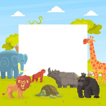 Cute Jungle Animals with White Empty Banner, Giraffe, Elephant, Lion, Monkey, Rhino, Orangutan, Turtle Standing Next to the Blank Signboard Vector Illustration Ilustracja