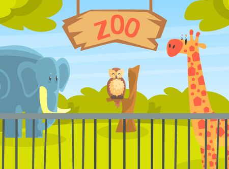 Zoo Park with Wild Animals, Natural African Landscape with Wild Giraffe, Elephant, Owl Animal Vector Illustration