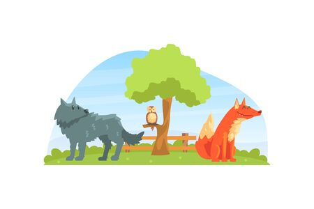 Wild Animals on Beautiful Natural Landscape, Wolf, Fox and Owl in the Zoo or Safari Park Vector Illustration Banco de Imagens - 150540803