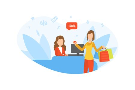 Friendly Saleswoman and Young Woman Buyer Paying for Goods at the Checkout, Girl on Seasonal Sale Vector Illustration 向量圖像