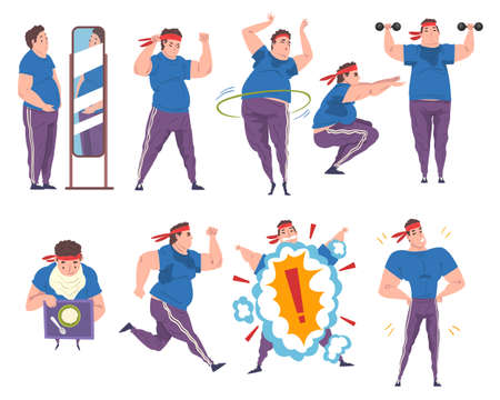 Fat Man Doing Sport Exercises Set, Weight Loss Process, Young Overweight Man Getting Fit Cartoon Vector Illustration Isolated on White Background. Vettoriali