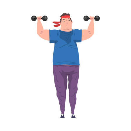 Young Overweight Man Doing Exercise with Dumbbells, Weight Loss Process, Fat Guy Getting Fit Cartoon Vector Illustration Isolated on White Background. Vettoriali