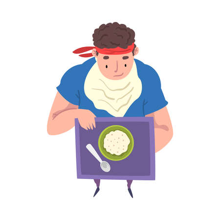 Young Overweight Man Eating Healthy Food, Weight Loss Process, Fat Man Getting Fit Cartoon Vector Illustration Isolated on White Background.