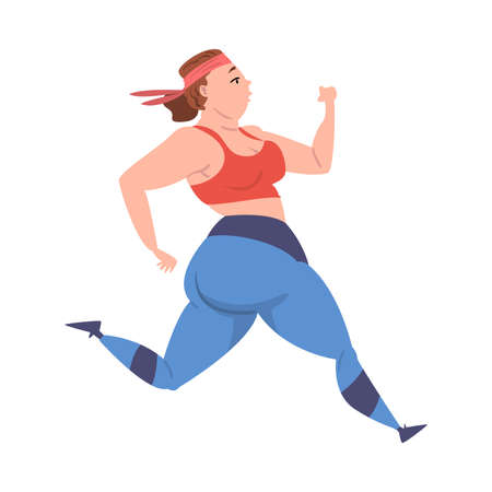 Plump Girl Running, Weight Loss Process, Young Overweight Woman Getting Fit Cartoon Vector Illustration on White Background