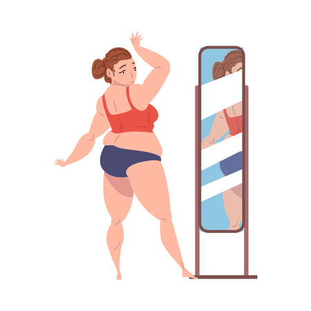 Positive Plump Young Woman in Lingerie Looking at her Reflection in the Mirror Cartoon Vector Illustration on White Background