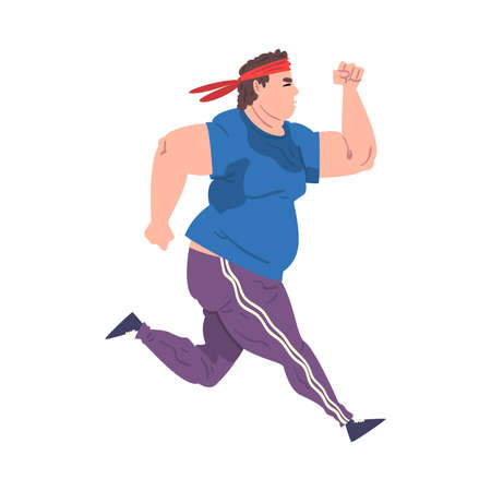 Young Overweight Man Running, Weight Loss Process, Fat Guy Getting Fit Cartoon Vector Illustration on White Background