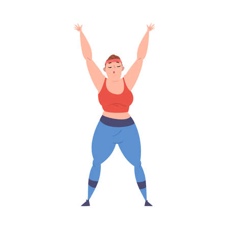Plump Girl Doing Sport Exercise, Weight Loss Process, Young Overweight Woman Getting Fit Cartoon Vector Illustration on White Background Vettoriali