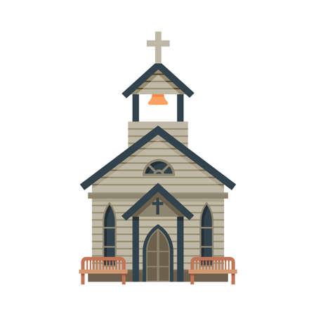Church Architectural Construction, Wild West Wooden Building, Western Town Design Element Vector Illustration