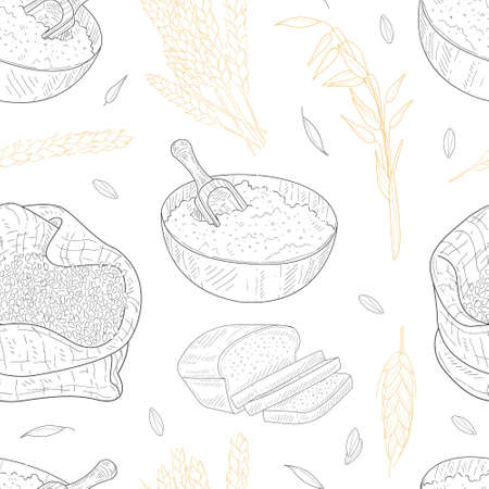 Farm Food Seamless Pattern, Agricultural Plants and Baked Products, Design Element Can be Used for Wallpaper, Packaging, Background Hand Drawn Vector Illustration