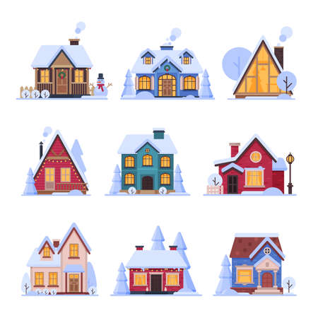 Cute Snowy Houses Collection, Suburban Cottage Buildings with Glowing Windows Vector Illustration