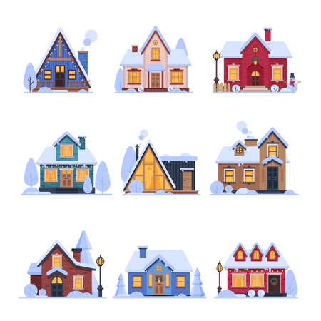 Cute Snowy Suburban Houses Set, Rural Cottage Buildings with Glowing Windows Vector Illustration Ilustrace