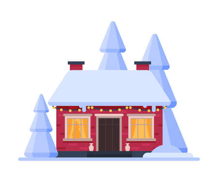 Snowy Suburban Wooden Cottage, Cute Rural Winter House, Timbered Cabin with Glowing Windows Vector Illustration