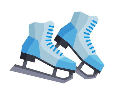 Classic Ice Figure Skates, Winter Sport Equipment Vector Illustration