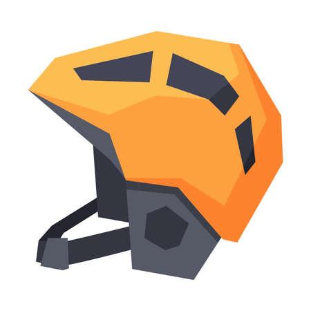 Classic Orange Hockey Helmet, Winter Sport Equipment Vector Illustration