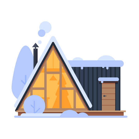 Cute Snowy House, Suburban Winter Cottage Building with Glowing Windows and Smoking Chimney Vector Illustration