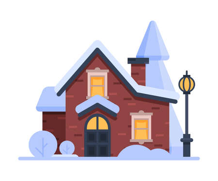 Snowy Suburban House, Cute Rural Winter Cottage with Vintage Streetlamp Vector Illustration