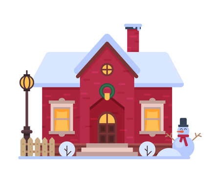 Cute Snowy House, Suburban Winter Cottage Building with Glowing Windows Vector Illustration Ilustrace