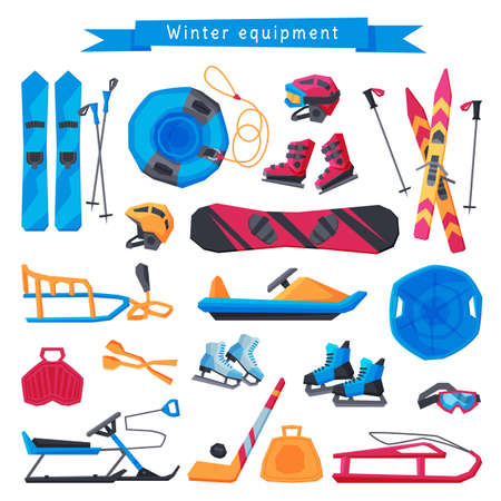 Winter Outdoor Sports and Leisure Equipment Collection, Inflatable Snow Tubing, Sled with Steering Wheel, Skis and Sticks, Hockey Stick, Puck and Ice Skates, Snowmobile Vector Illustration Ilustrace