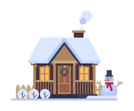 Snowy Suburban House, Rural Winter Cottage, Timbered Cabin with Smoking Chimney Vector Illustration Vecteurs