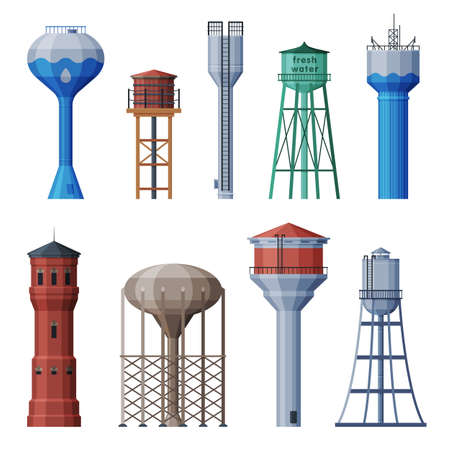 Water Towers Collection, Liquid Storage Tanks, Countryside Life Objects Flat Vector Illustration Isolated on White Background. Çizim