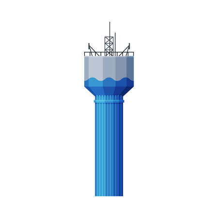 Modern Water Tower, Gray and Blue Metal Industrial Construction, Countryside Life Object Flat Vector Illustration on White Background