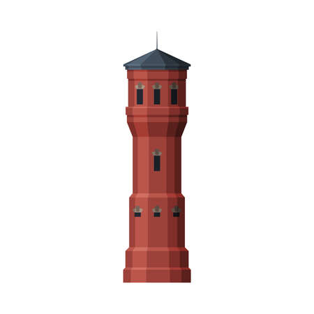 Red Water Tower, Old Industrial Construction, Countryside Life Object Flat Vector Illustration on White Background