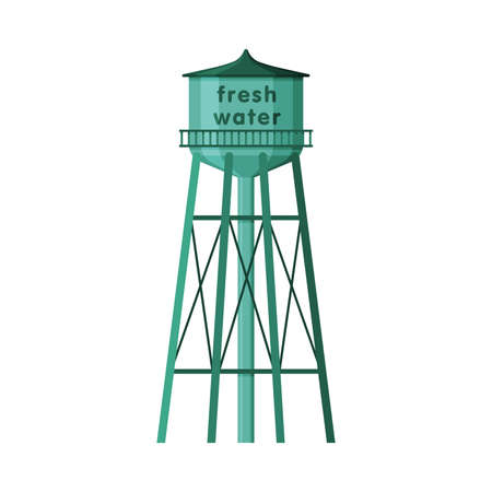 Fresh Water Tower, Metal Green Industrial Construction, Countryside Life Object Flat Vector Illustration on White Background