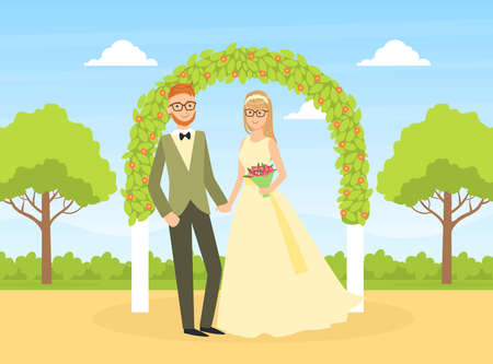 Wedding Ceremony, Happy Couple of Newlyweds Standing Behind the Floral Arch on Nature Flat Vector Illustration