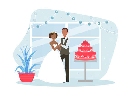 Just Married Couple Posing with Holiday Cake, Happy Romantic Newleads at Wedding Day Flat Vector Illustration