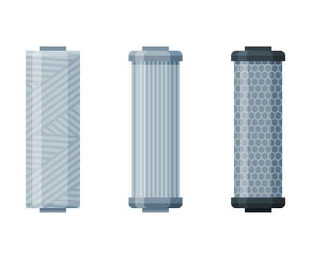 Water Filters Set, Special Modern Technologies for Liquid Purification Vector Illustration on White Background