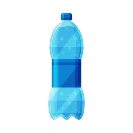 Plastic Bottle with Clean Purified Water Vector Illustration on White Background