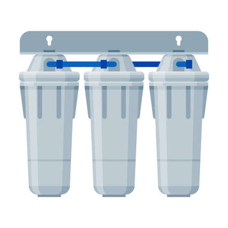 Water Filters, Clean Water Component, Special Modern Technologies for Liquid Purification Vector Illustration on White Background Ilustração