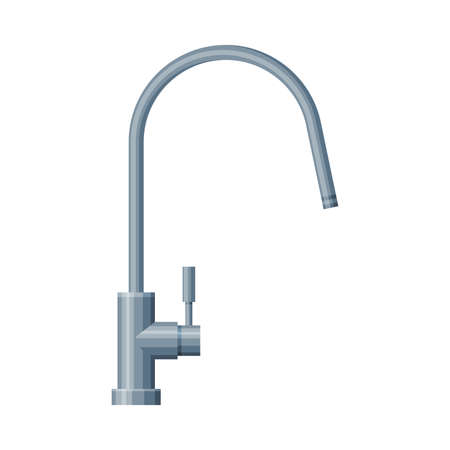 Faucet Water Filter, Stainless Steel Kitchen Faucet Vector Illustration on White Background
