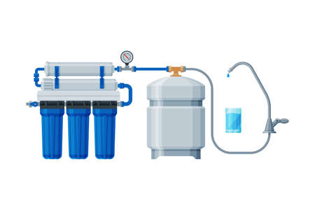Water Filtration System, Special Modern Technology for Water Purification Vector Illustration on White Background