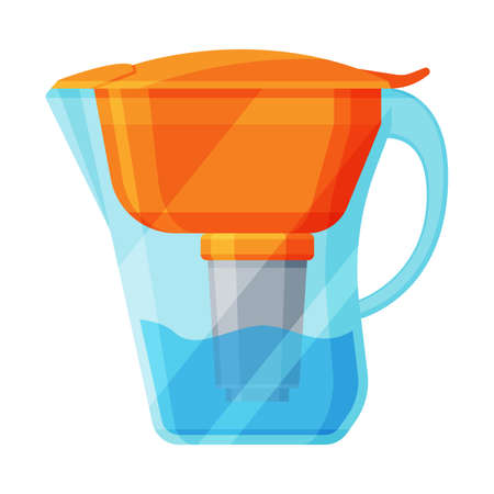 Jug Filter for Water Purification, Special Modern Technologies Vector Illustration on White Background