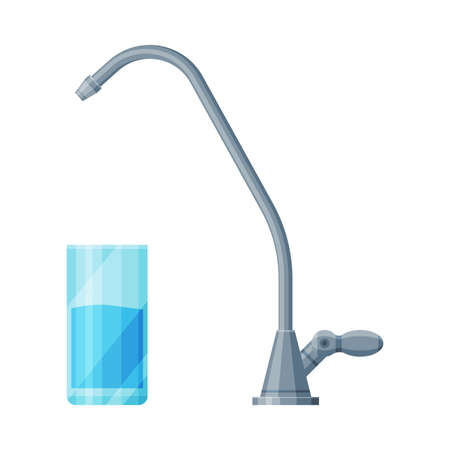 Faucet and Glass of Clean Water, Stainless Steel Kitchen Faucet Vector Illustration Isolated on White Background. Ilustração