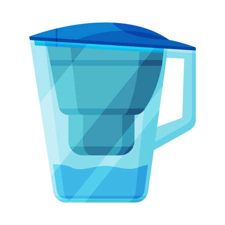 Water Filter Jug, Special Modern Technologies for Water Purification Vector Illustration on White Background