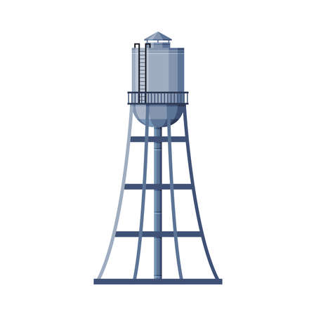 Water Tower Metal Industrial Construction, Countryside Life Object Flat Vector Illustration on White Background