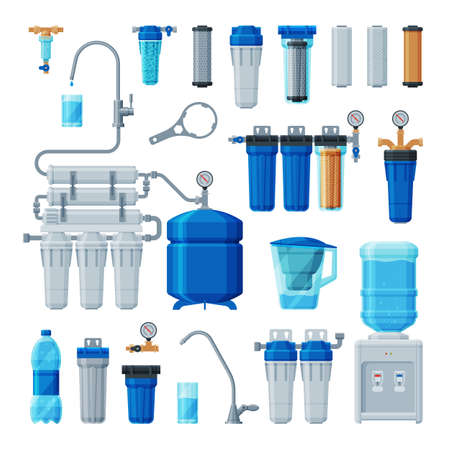 Water Filters Set, Equipment for Water Cleaning, Special Modern Technologies for Liquid Purification Vector Illustration on White Background
