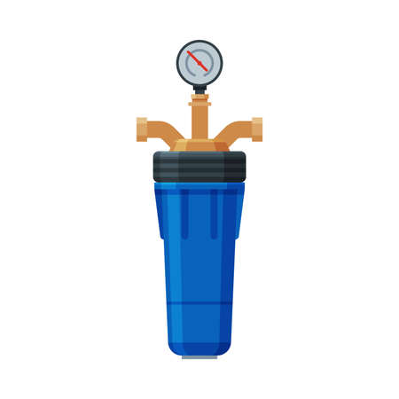Water Filter with Water Meter, Special Modern Technologies for Water Purification Vector Illustration on White Background Ilustração