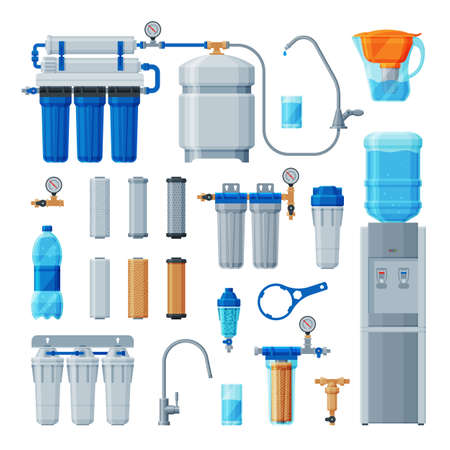 Water Filters Collection, Equipment for Water Cleaning, Special Modern Technologies for Purification Vector Illustration