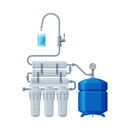 Water Filter System, Special Modern Technologies for Water Purification Vector Illustration on White Background Ilustração