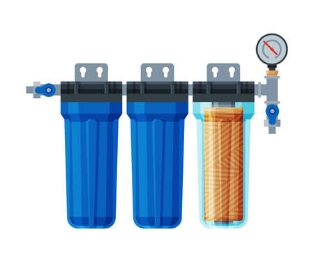 Water Filter, Water Purification Special Modern Technology Equipment Vector Illustration on White Background.